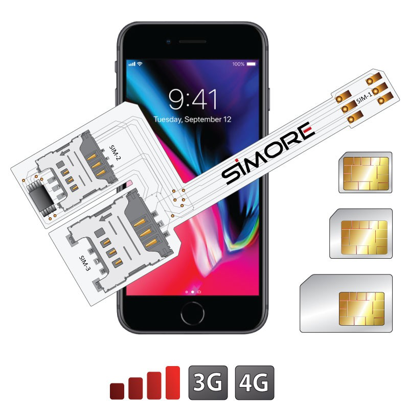 iPhone 8 Triple Double SIM - Adaptateur WX-Triple 8 pour iPhone 8