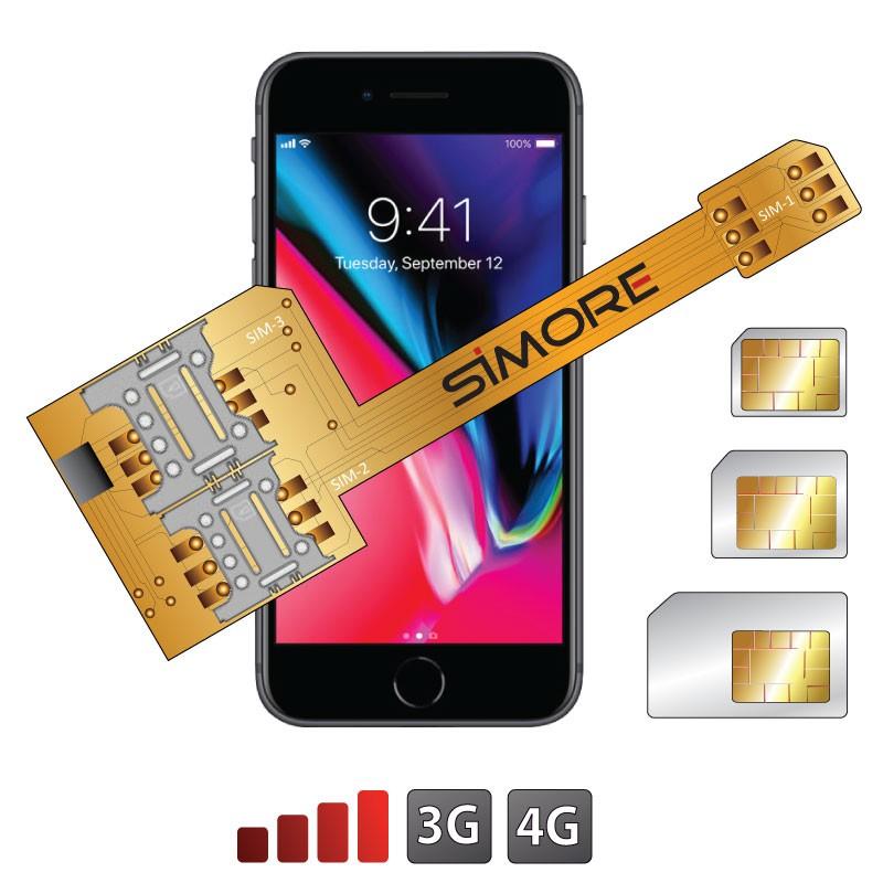iPhone 8 double SIM triple sim adaptateur X-Triple 8 3G 4G pour iPhone 8