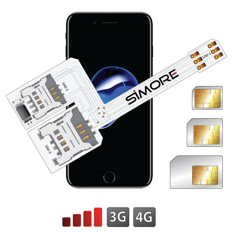 WX-Triple 7 Coque adaptateur triple double SIM pour iPhone 7