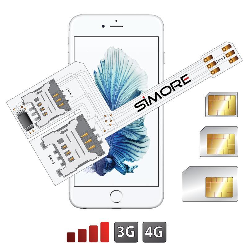 WX-Triple 6S Coque adaptateur triple double SIM pour iPhone 6S