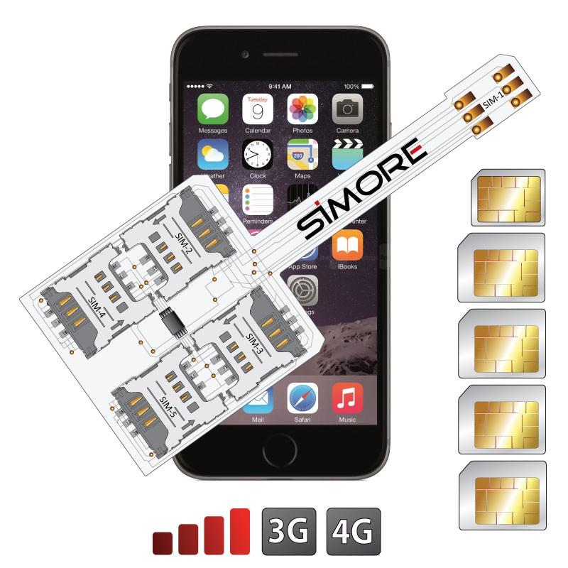 WX-Five 6 Plus Coque adaptateur 5 SIMs multi double carte SIM pour iPhone 6 Plus