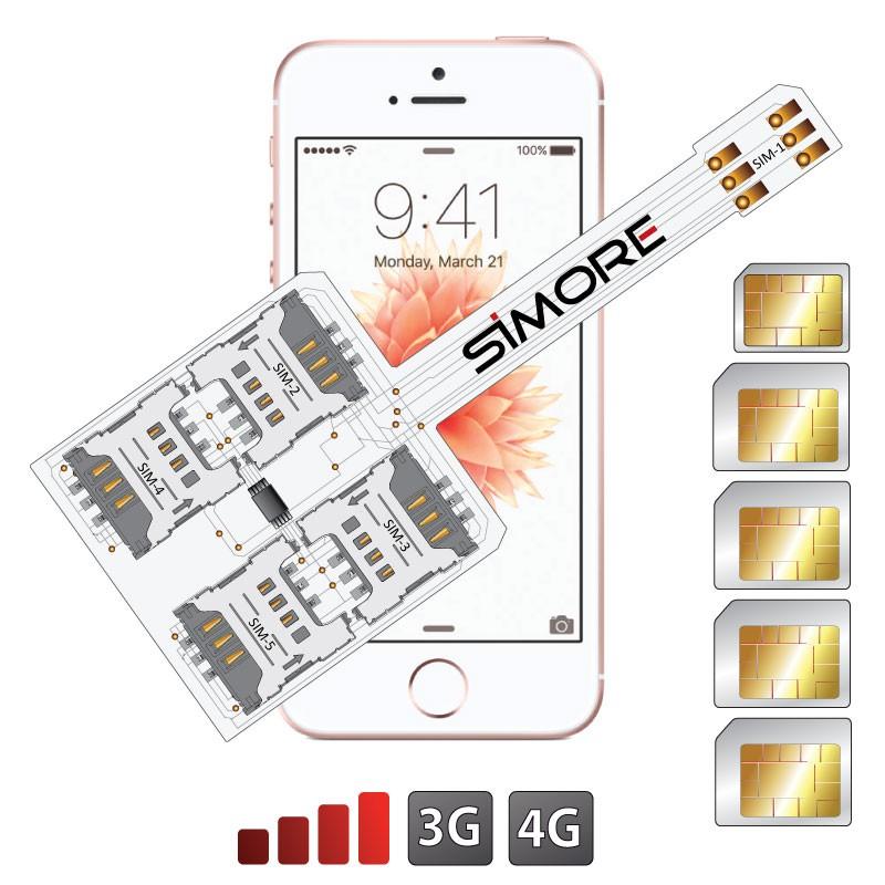WX-Five SE Coque adaptateur 5 SIMs multi double carte SIM pour iPhone SE