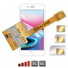 iPhone 8 Plus double triple carte SIM adaptateur pour iPhone 8 Plus