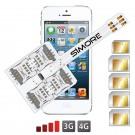 WX-Five 5-5S Coque adaptateur 5 SIMs multi double carte SIM pour iPhone 5 et 5S