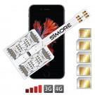 WX-Five 6S Plus Coque adaptateur 5 SIMs multi double carte SIM pour iPhone 6S Plus