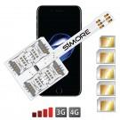 WX-Five 7 Coque adaptateur 5 SIMs multi double carte SIM pour iPhone 7