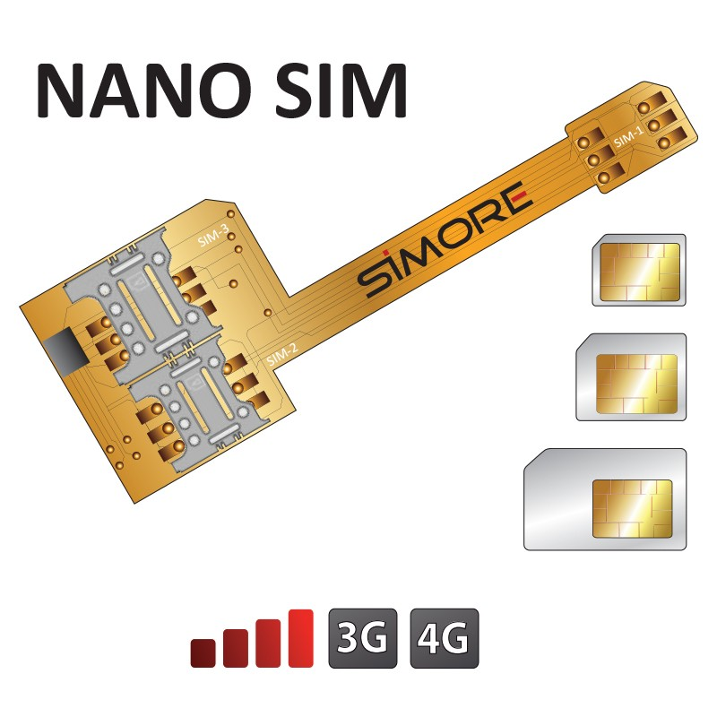 Triple Dual SIM adapter for smartphone Nano SIM