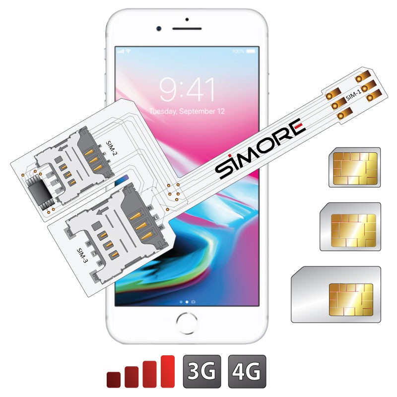iPhone 8 Plus Triple Dual SIM adapter 3G 4G for iPhone 8 Plus