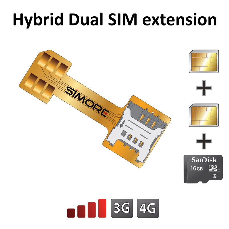 Nano SIM card extension adapter for hybrid Dual SIM slot phone SIMore X-Extender