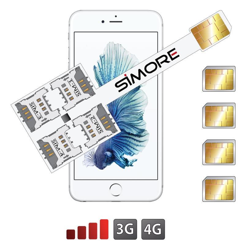 iPhone 6S Adattatore Quadrupla SIM Multi-SIM Speed X-Four 6S per iPhone 6S