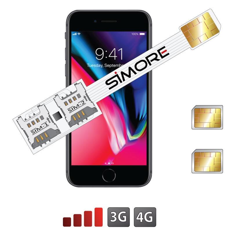 iPhone 8 Doppia SIM adattatore 3G - 4G Speed X-Twin 8 per iPhone 8