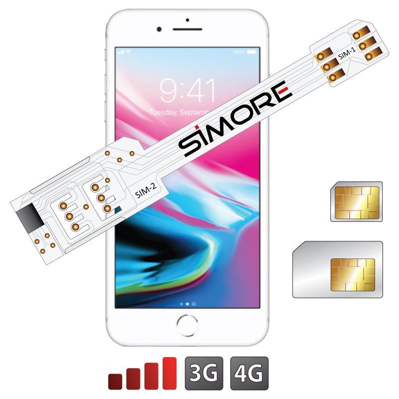 iPhone 8 Plus Doppia SIM Adattatore 3G 4G per iPhone 8 Plus QS-Twin 8 Plus