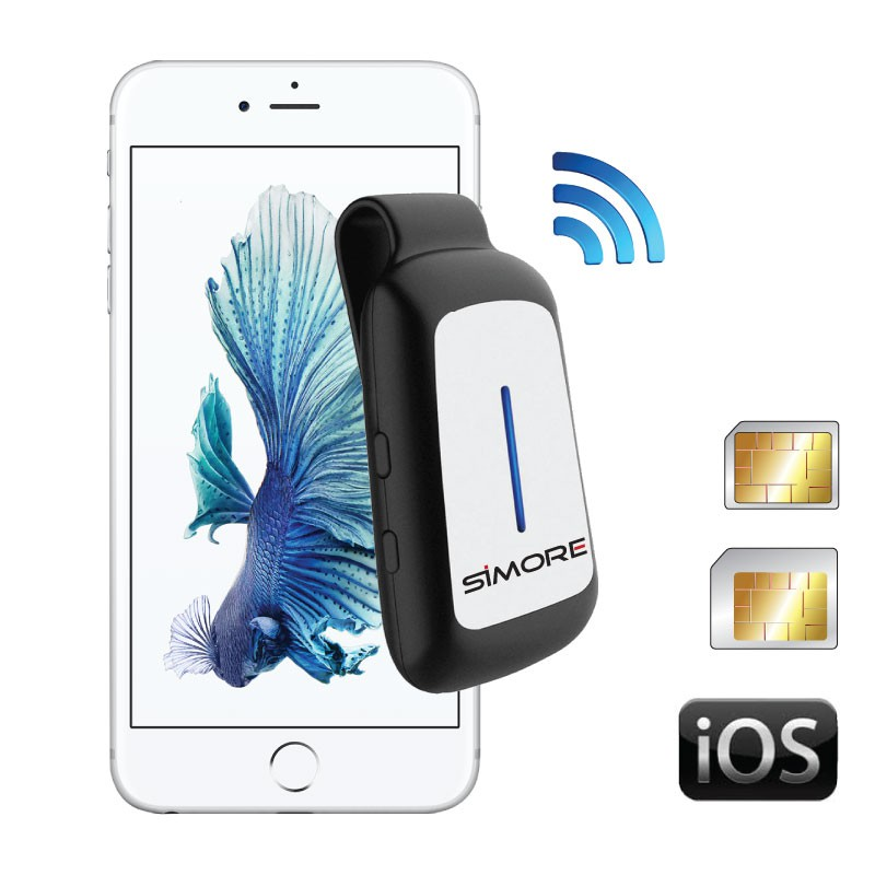 BlueClip Bluetooth Dual SIM Convertidor para Apple iPhone, iPod touch, iPad y iOS utensilio