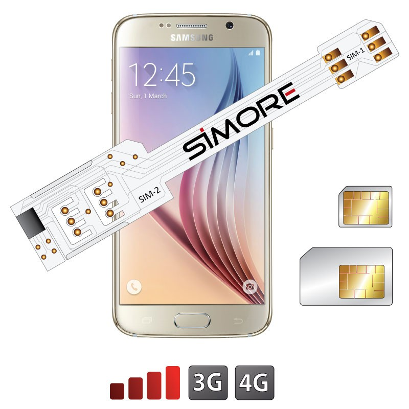 WX-Twin Galaxy S6 Adaptador doble tarjeta SIM 4G para Samsung Galaxy S6