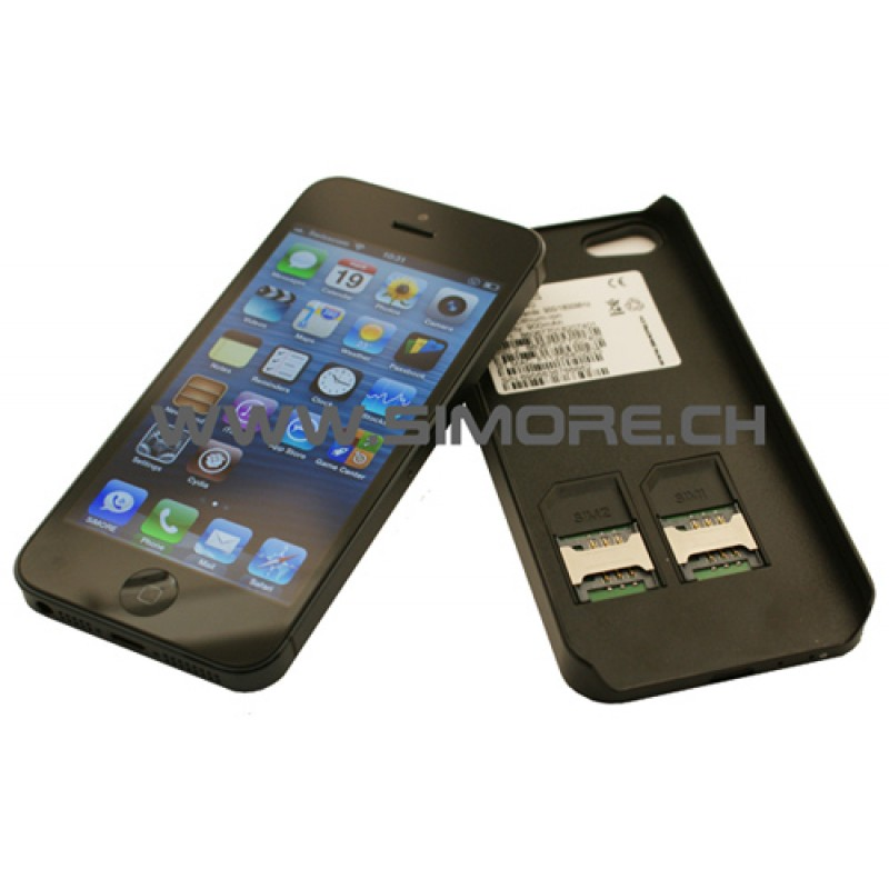 TripleBlue Case 5 Funda adaptador triple dual SIM activa para iPhone 5