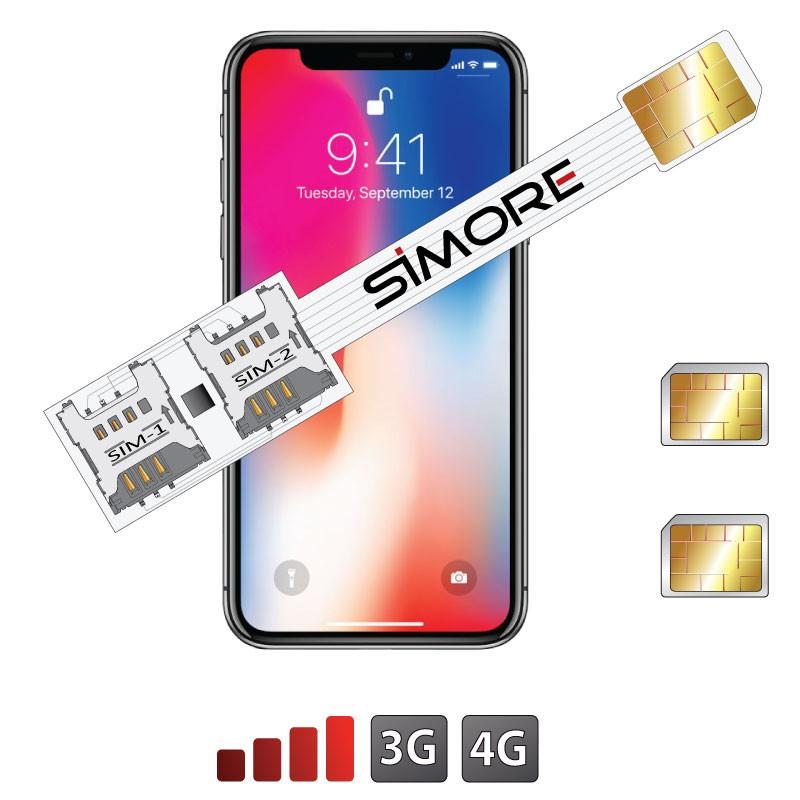 iPhone X Doble SIM adaptador Speed X-Twin X para iPhone X