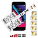 iPhone 8 multi doble tarjeta SIM Funda adaptador para iPhone 8 con 5 SIMs