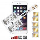 WX-Five 6 Funda adaptador 5 SIMs multi doble tarjeta SIM para iPhone 6
