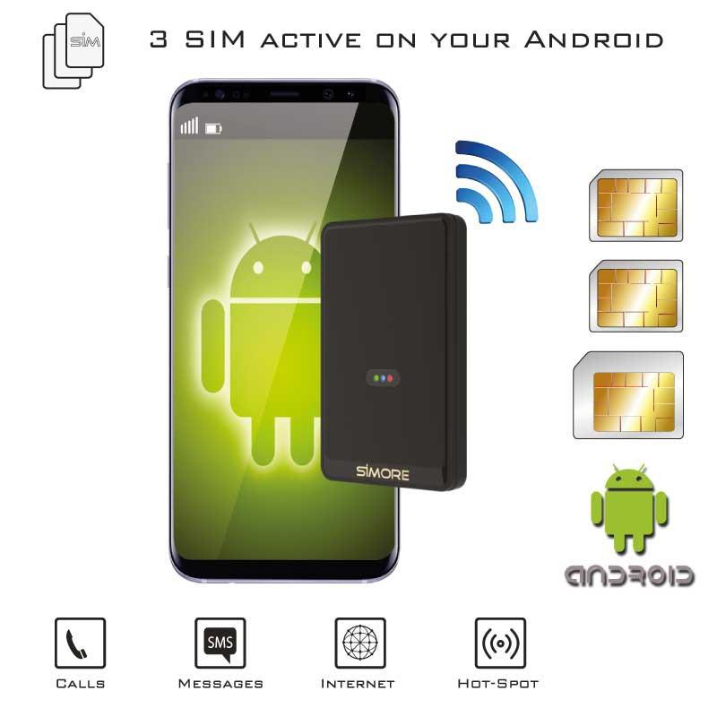 Double SIM Android Adaptateur Bluetooth WiFi simultané Quadri-bande et routeur MiFi cellulaire Multi-sim