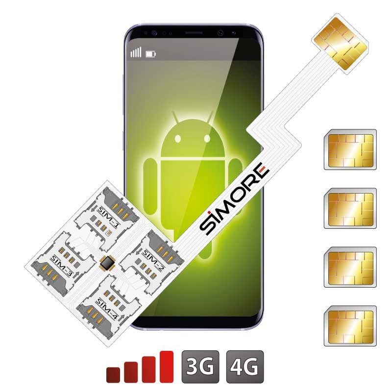 Adaptateur Dual SIM Android Quadruple Multi SIM 4G Speed ZX-Four Nano SIM
