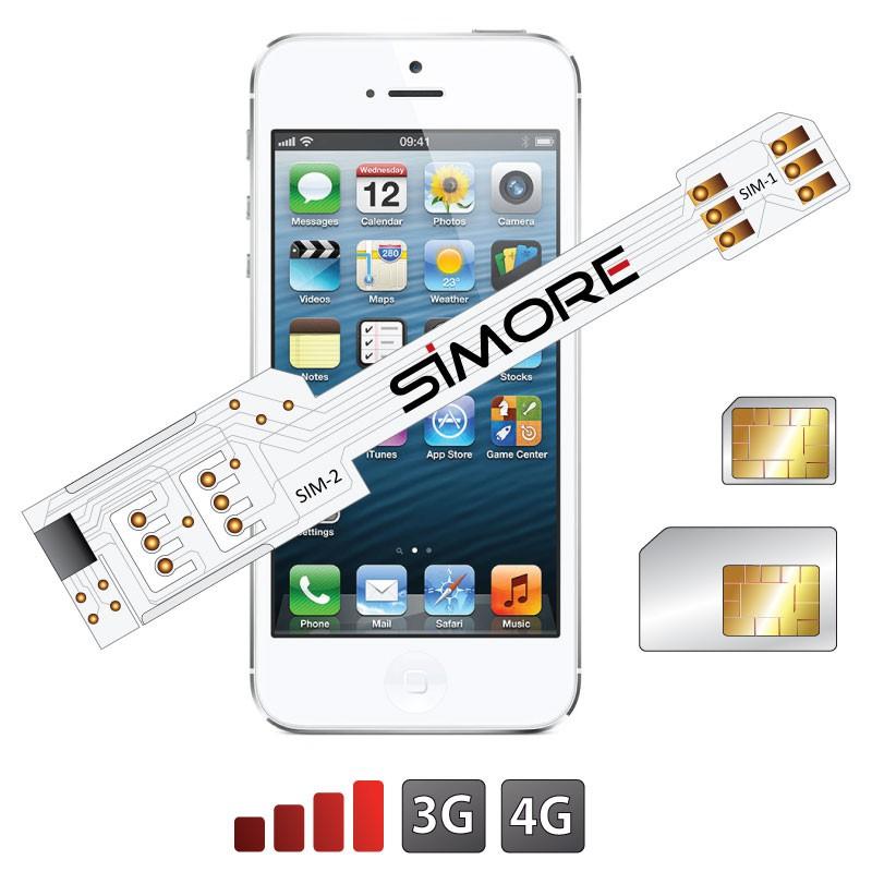 QS-Twin 5-5S Coque adaptateur dual SIM pour iPhone 5 et 5S