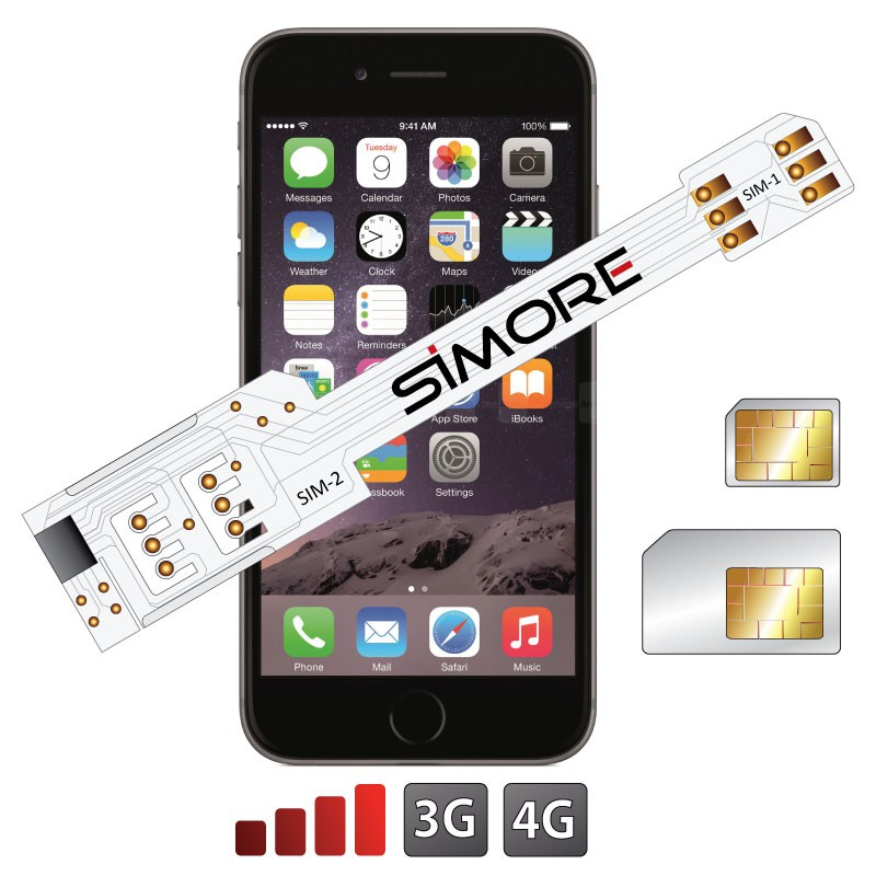 WX-Twin 6 Plus Coque adaptateur dual SIM pour iPhone 6 Plus