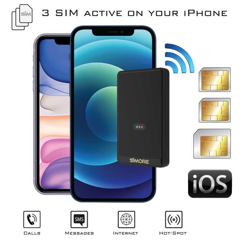 Double SIM iPhone bluetooth adaptateur avec 2 ou 3 numéros actifs simultanéement et Wi-Fi routeur E-Clips Gold