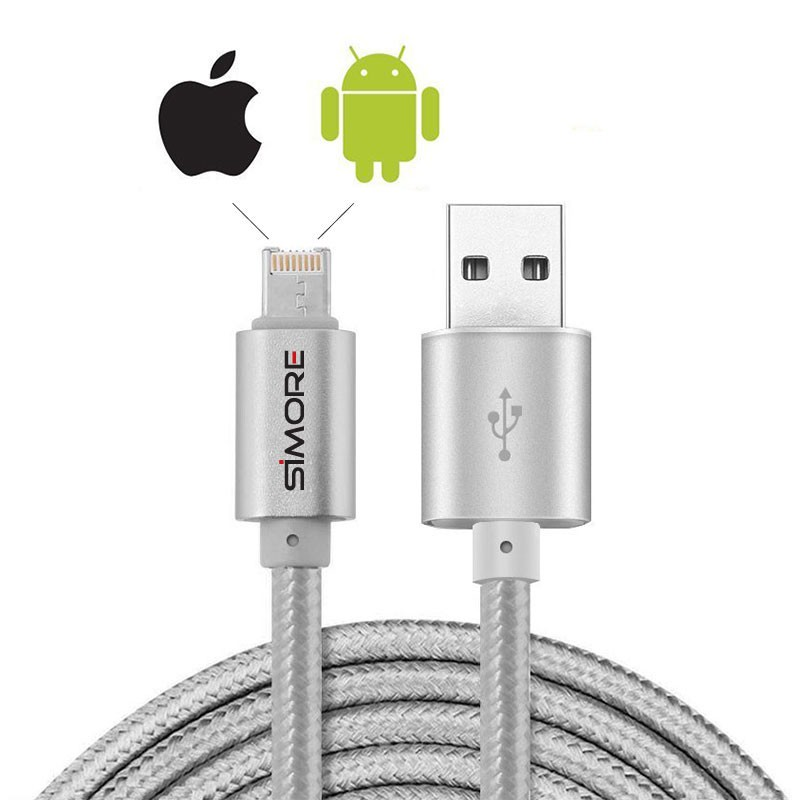 Cable Lightning pour iPhone Apple iOS et téléphone Micro-USB Android charge DualCable