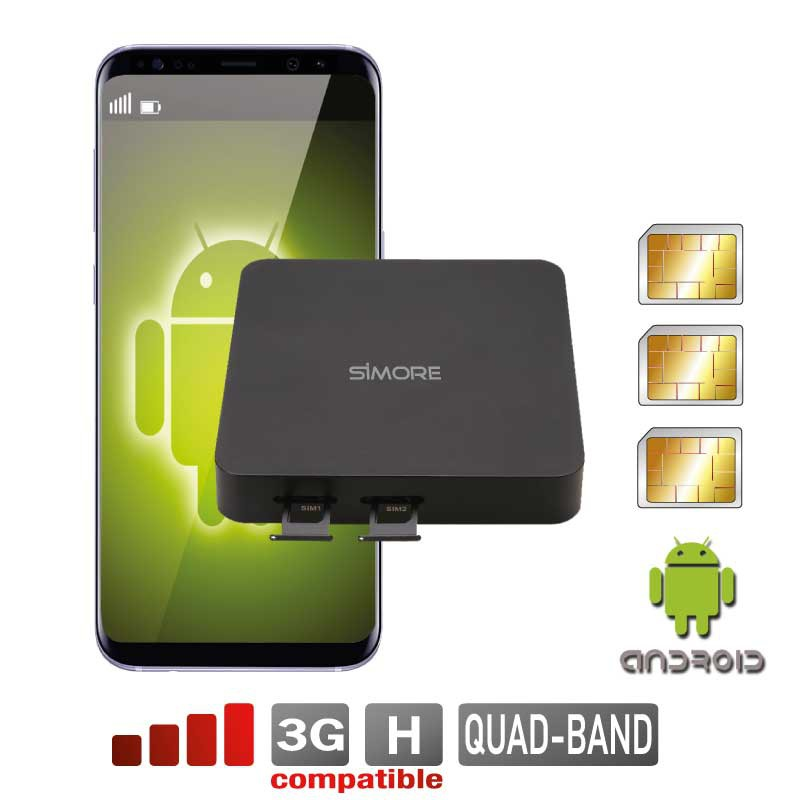 Android mobile Double SIM actif simultané routeur adaptateur DualSIM@home Android