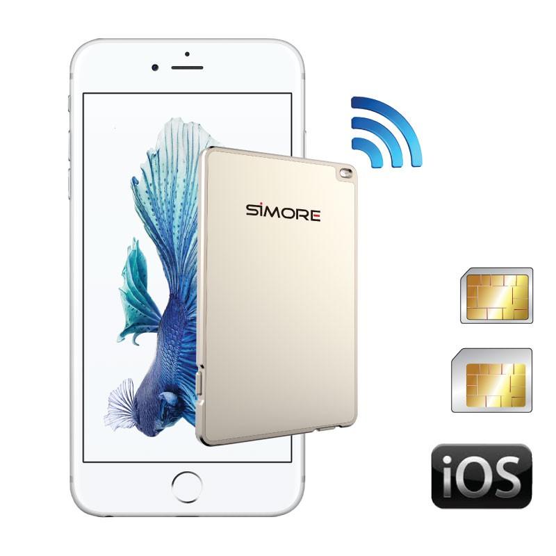 GoldBox adaptateur double carte SIM active bluetooth connexion simultanée pour iPhone, iPad, iWatch