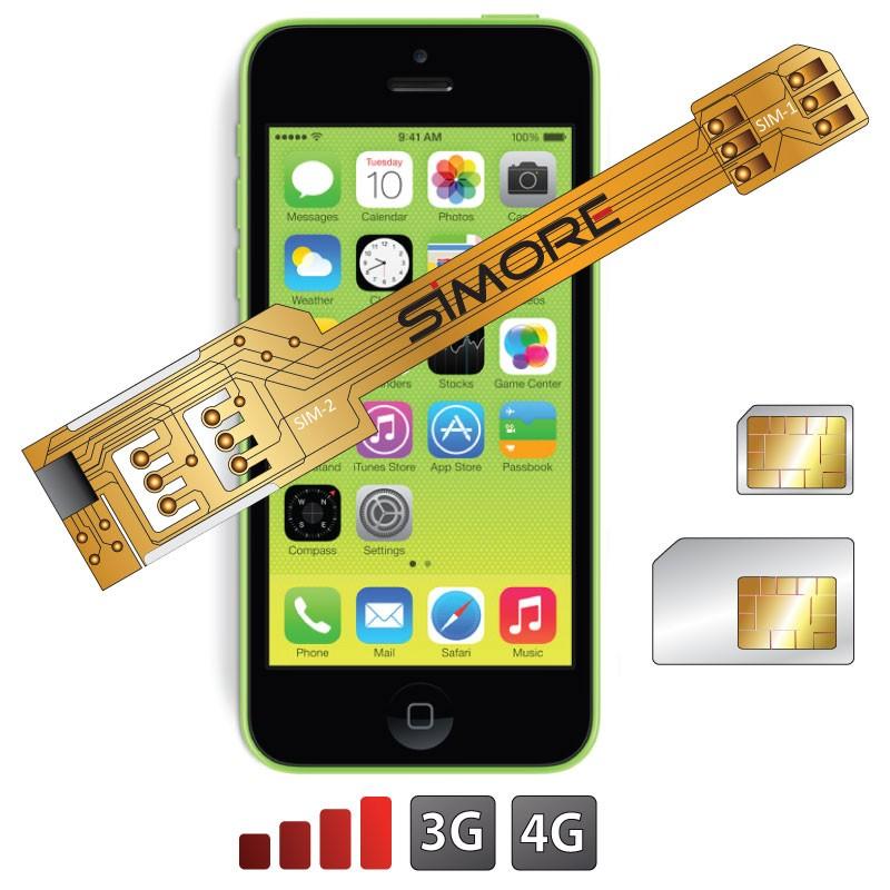 X-Twin 5C Adaptateur double carte SIM pour iPhone 5C