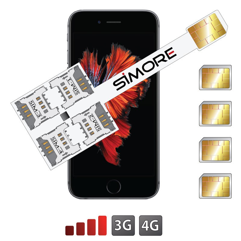 iPhone 6S Plus Quadruple Adaptateur Multi-SIM Speed X-Four 6 Plus pour iPhone 6S Plus