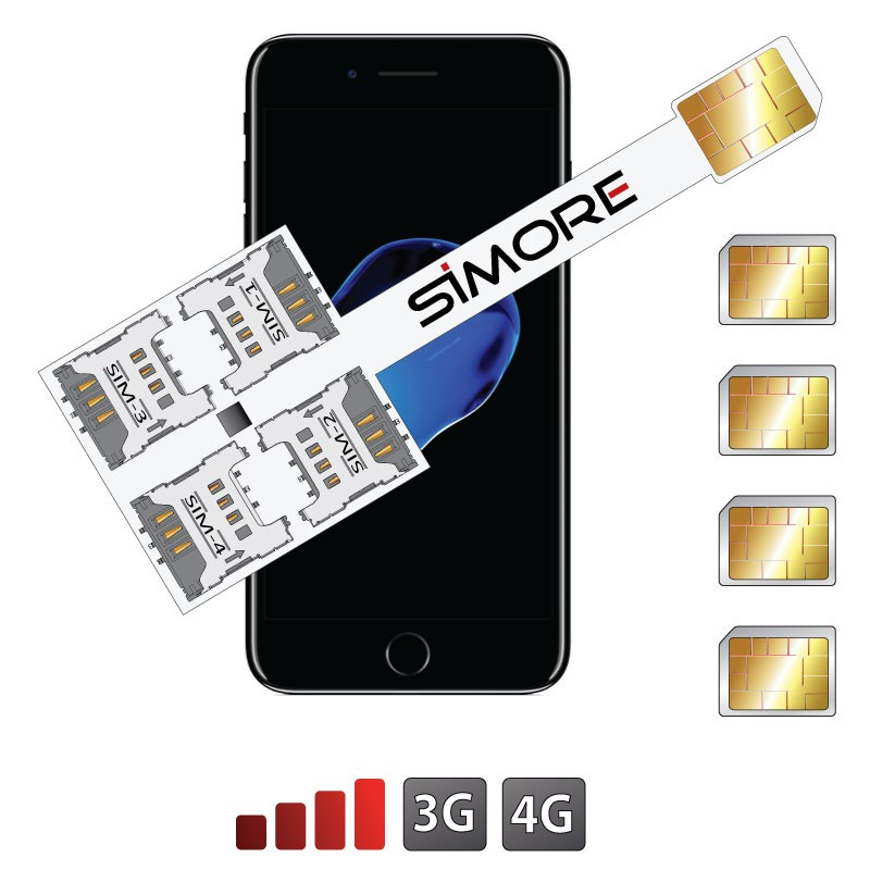 iPhone 7 Adaptateur Multi Quadruple SIM Speed X-Four 7 pour iPhone 7