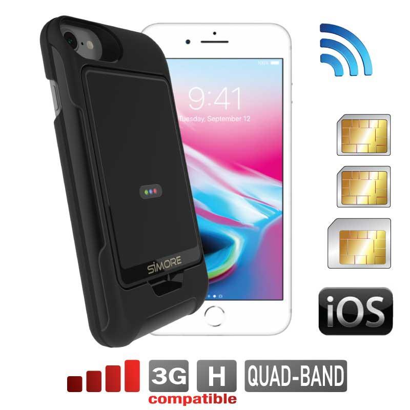 iPhone 8 7 6 6S adaptateur dual SIM coque bluetooth et MiFi Wi-Fi routeur connexion simultanée