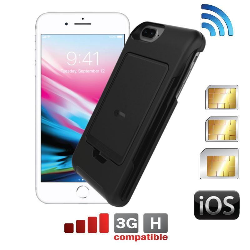iPhone 8-7-6-6S Plus dual SIM coque adaptateur E-Clips Box + E-Clips Case