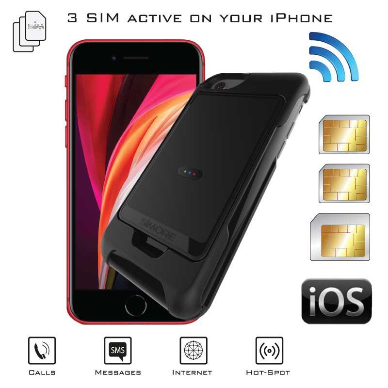 iPhone SE 2020 Adaptateur Dual SIM Actif simultané + coque de protection E-Clips Box Pack