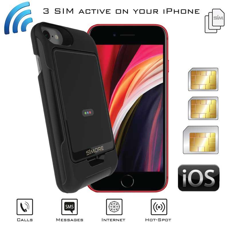 iPhone SE 2020 Double SIM Actif Bluetooth Adaptateur Triple simultané + coque E-Clips Gold Pack SIMore