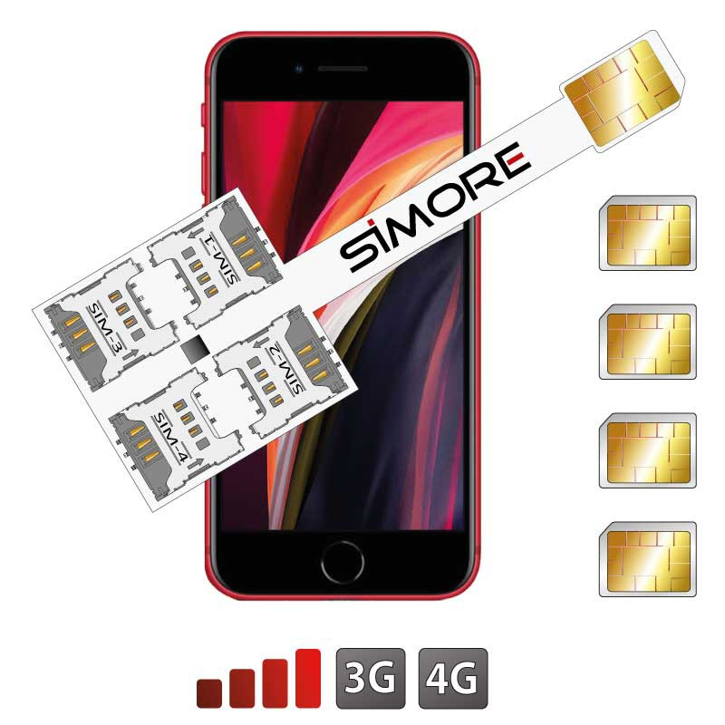 Multi Dual SIM pour iPhone SE 2020 Adaptateur quadruple SIM Speed X-Four SE 2020