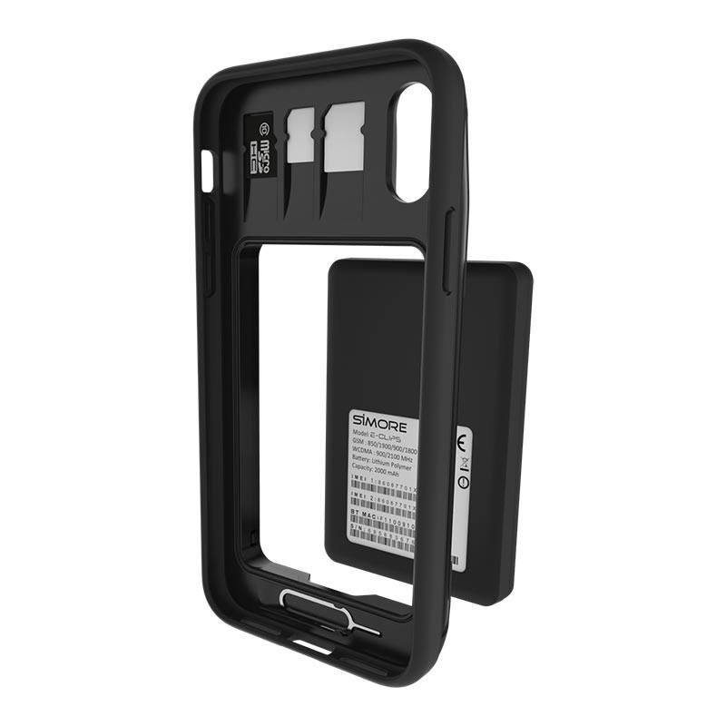 iPhone X et XS coque pour adaptateur E-Clips Triple Double SIM Bluetooth et Wi-Fi router