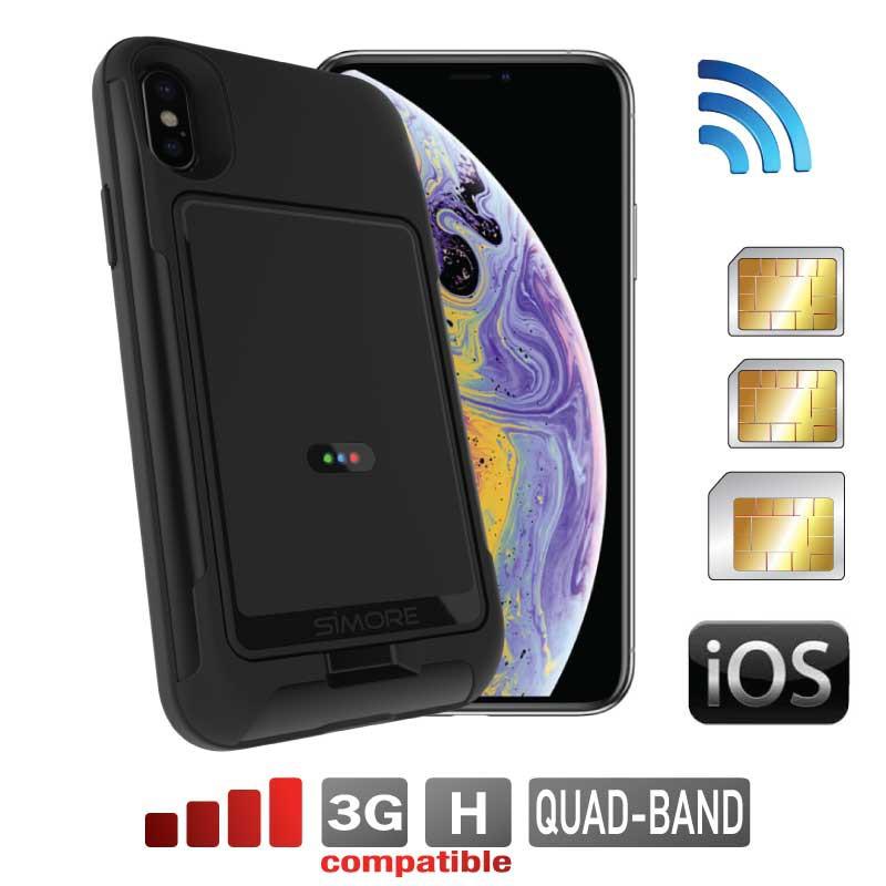 iPhone XS double carte sim adaptateur coque bluetooth et MiFi wifi routeur hotspot E-Clips SIMore