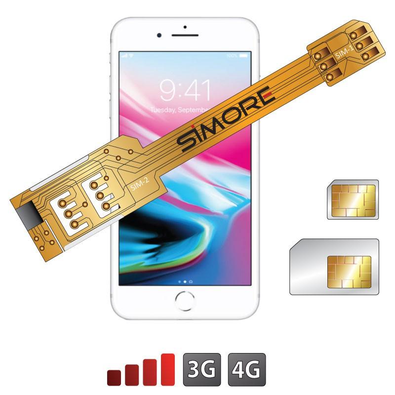 Double SIM pour iPhone 8 Plus Adaptateur X-Twin 8 Plus