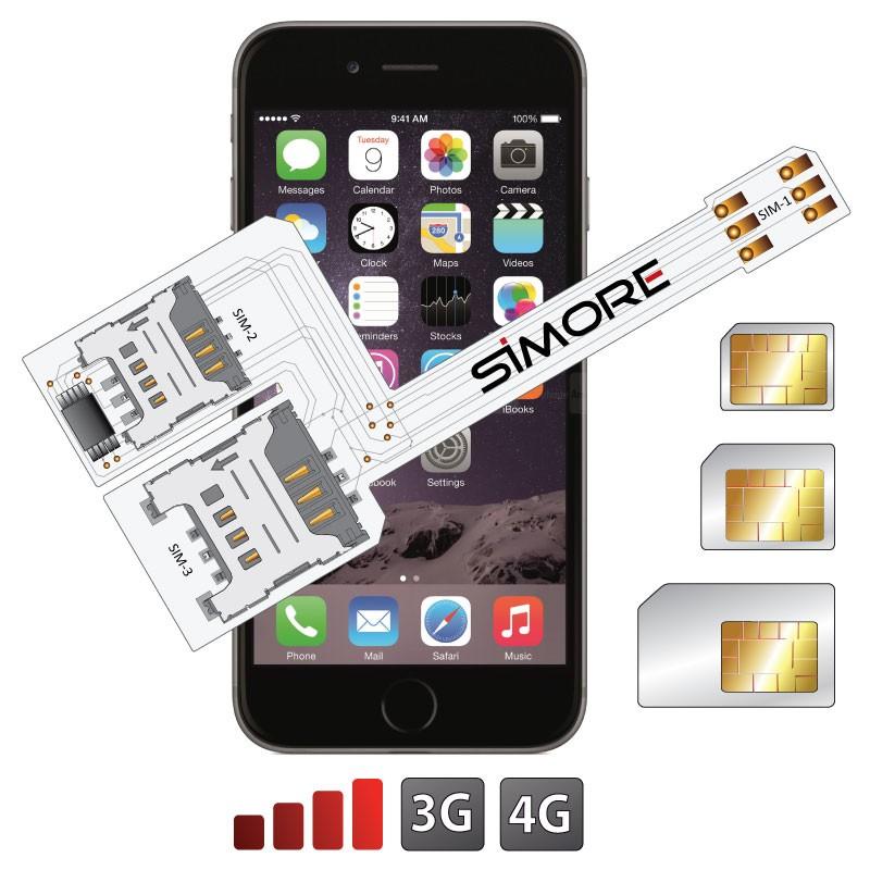WX-Triple 6 Plus Coque adaptateur triple double SIM pour iPhone 6 Plus