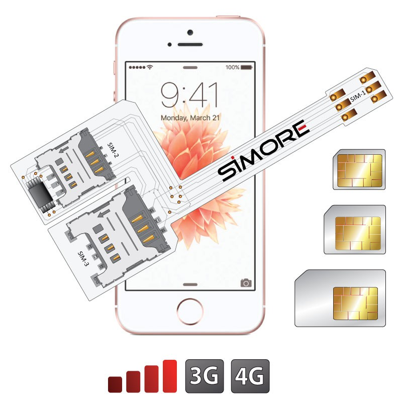 WX-Triple SE Coque adaptateur triple double SIM pour iPhone SE