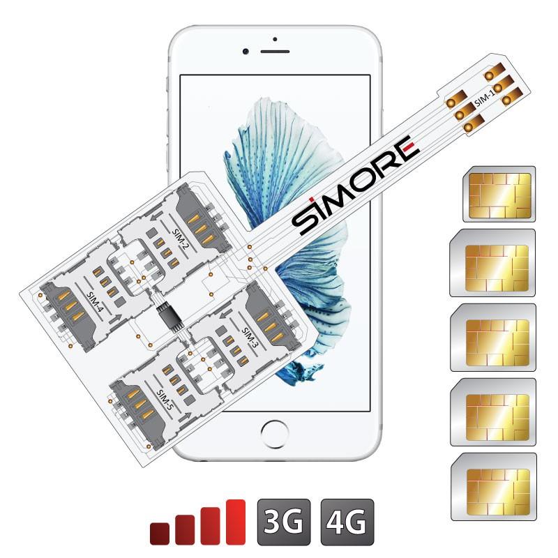 WX-Five 6S Coque adaptateur 5 SIMs multi double carte SIM pour iPhone 6S