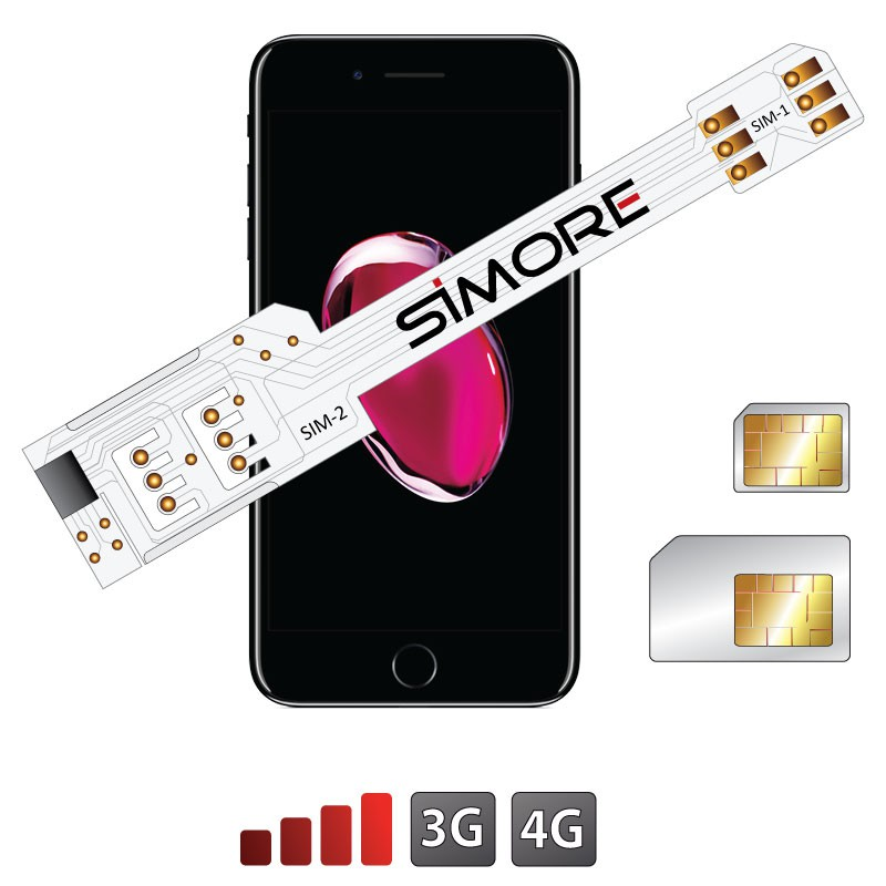 QS-Twin 7 Plus Coque adaptateur dual SIM pour iPhone 7 Plus