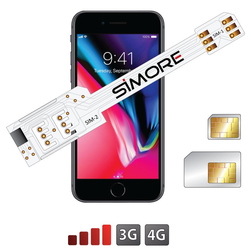 iPhone 8 Double SIM adaptateur 3G - 4G