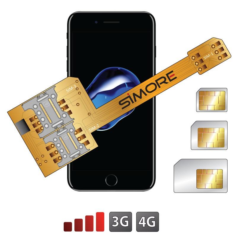 X-Triple 7 Adaptateur double triple carte SIM pour iPhone 7