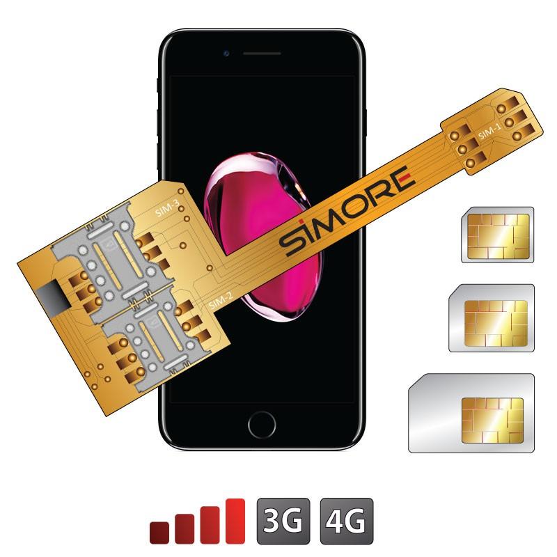 X-Triple 7 Plus Adaptateur double triple carte SIM pour iPhone 7 Plus