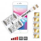 iPhone 8 Plus Multi double SIM  Coque adaptateur 5 SIMs WX-Five 8 Plus