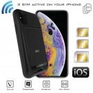 iPhone XS Double SIM Active Bluetooth coque adaptateur Simultané MiFi router WiFi hotspot E-Clips Gold